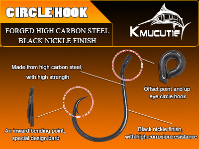 5pcs value pack high carbon steel circle hook wholesale