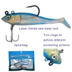 Laser inside rigged soft shad lure for sea bass fishing lure