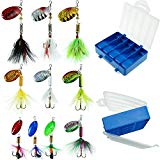 #7: Fishing Lures 10pcs Spinner Lures Baits with Tackle Box, Bass Trout Salmon Hard Metal Rooster Tail Fishing Lures Kit by FouceClaus