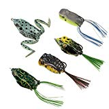 #9: RUNCL Topwater Frog Lures, Soft Fishing Lure Kit with Tackle Box for Bass Pike Snakehead Dogfish Musky (Pack of 5)