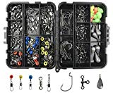 #10: 160pcs/box Fishing Accessories Kit, Including Jig Hooks, Bullet Bass Casting Sinker Weights, Different Fishing Swivels Snaps, Sinker Slides, Fishing Line Beads, Fishing Set with Tackle Box